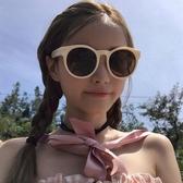 韓國網紅同款原宿復古Ins街拍太陽鏡女小圓框奶茶色墨鏡