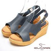 ★2018春夏新品★【CUMAR】舒適百搭-嚴選舒適真皮厚台涼鞋(藍)