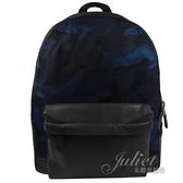 茱麗葉精品【現貨出清】COACH 21556 大款 迷彩皮革尼龍拼接後背包.黑藍