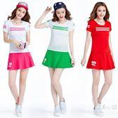 網球服女套裝大碼女裝幼兒園教師園服羽毛球休閒運動服套裝女裙褲 快速出貨