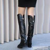 過膝長靴子女高筒女鞋秋冬新款皮靴女平底流蘇大筒圍大碼長筒靴女 科技藝術館