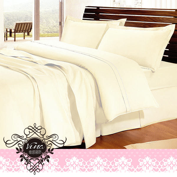 《優雅素色-粉嫩米》100%精梳純棉☆ 雙人薄床包三件組5x6.2尺 ☆台灣製作