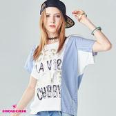 【SHOWCASE】休閒條紋拼接英字印刷連袖T恤(白)