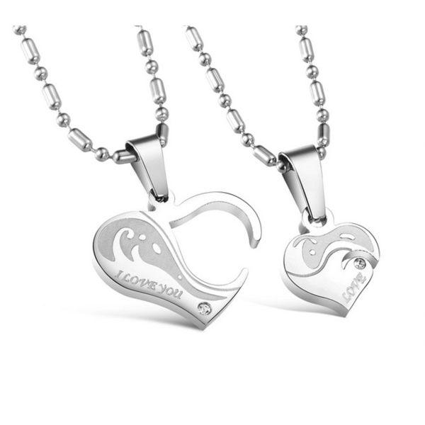 Mao 【5折超值價】 最新款經典時尚純鋼愛心組合造型情侶款鈦鋼項鍊(一對優惠價)