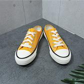 X-INGCHI 女款黃色帆布穆勒鞋-NO.X0169