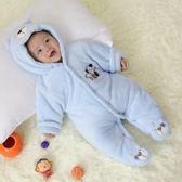 剛生初新生嬰兒寶寶連體衣服夏季裝加厚哈衣滿月保暖純棉襖外出服