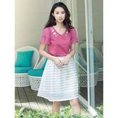 單一優惠價[H2O]V領立體花刺繡裝飾雪紡袖針織上衣-紅/黃/白色 #8671011