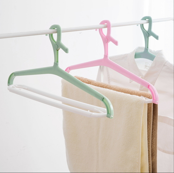 大號可伸縮塑料浴巾掛架晾衣架曬床單衣架家用掛衣架毛巾架─預購CH5496