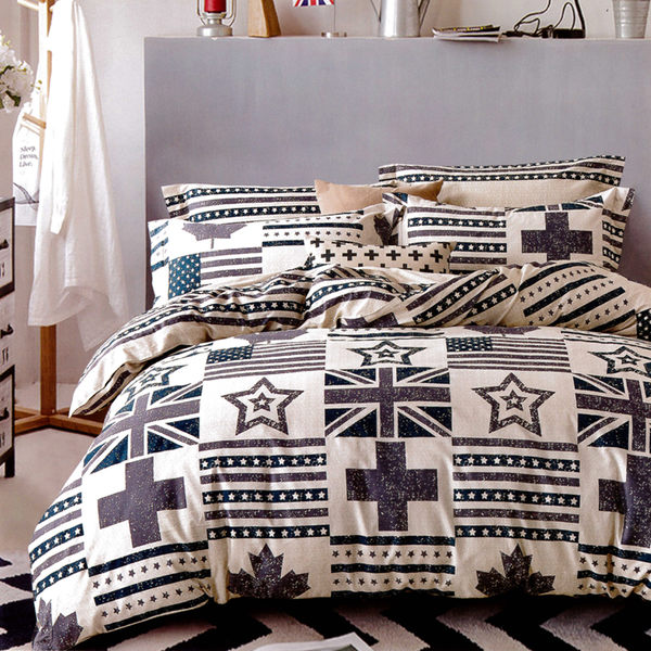 純棉涼被床包組 單人三件組 英倫風/哇哇購