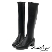 長靴 高雅氣質素面方頭長筒跟靴(黑) *BalletAngel【18-138-15bk】【現貨】