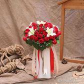 韓式新娘手捧花結婚綢緞永生花仿真紅玫瑰花攝影婚禮手 『洛小仙女鞋』