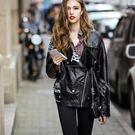 皮衣外套-秋季寬鬆塗鴉翻領女夾克73hu3【時尚巴黎】