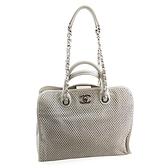 【奢華時尚】CHANEL 米白色洞洞牛皮銀鍊手提肩背兩用包(八五成新)#24630