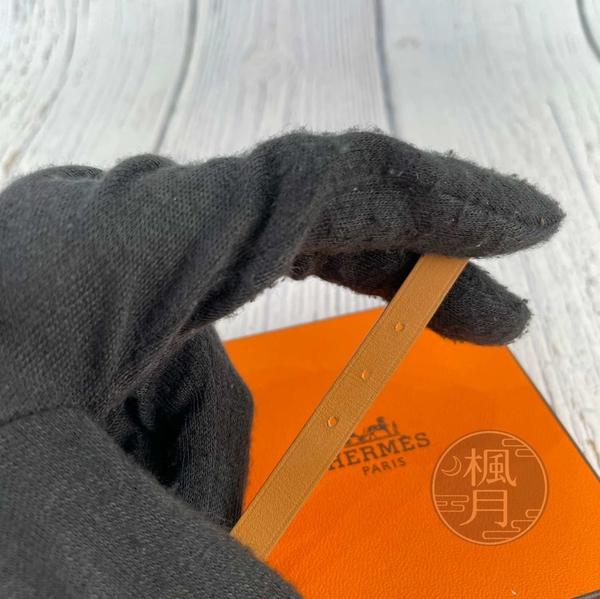 BRAND楓月 HERMES 愛馬仕 Q刻 檸檬黃 銀釦 皮革 三圈 手環 配件 尺寸L