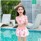 小熊居家兒童泳衣女三件套分體裙式大中小童女孩公主寶寶女童溫泉游泳衣