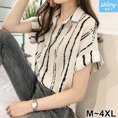 【V2563】shiny藍格子-港風韓范.條紋V領寬鬆短袖襯衫上衣