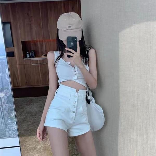 短褲 白色高腰牛仔短褲女夏裝網紅a字褲顯瘦性感緊身熱褲子 夢露