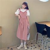 夏季新款韓版收腰顯瘦洋氣百搭中長款復古格子吊帶連衣裙女潮