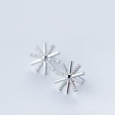 925純銀耳環(耳針式)-韓版明星同款太陽生日聖誕節禮物女飾品73dr35【時尚巴黎】