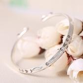 925純銀手環 鍍白金-小魚菱形開口生日情人節禮物女飾品73nc10【時尚巴黎】