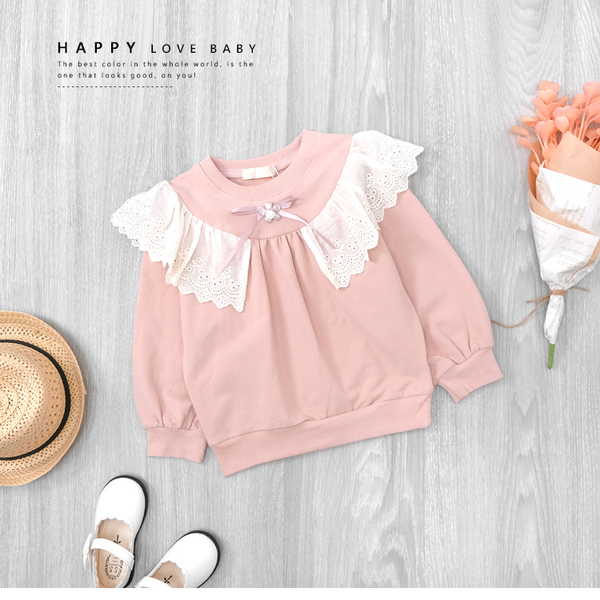 甜美粉色蕾絲荷葉邊歐式上衣 氣質 長袖 毛圈內裡 縮口 女上衣 女童裝 秋冬長袖