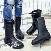雨鞋/雨靴 棉水鞋雨鞋男水靴雨靴中筒男士膠鞋時尚成人套鞋防潑水鞋正韓新 酷我衣櫥