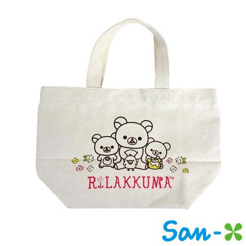 蜂蜜款【日本進口正版】San-X 拉拉熊 帆布手提袋 提袋 便當袋 懶懶熊 Rilakkuma - 049103