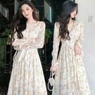 春裝高級感輕奢長裙洋氣設計感可甜可鹽氣質碎花連衣裙女神范衣服 美眉新品