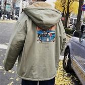 秋冬男裝 冬季加厚連帽棉衣中長款韓版寬鬆潮流羊羔毛棉襖ins外套