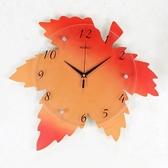 創意電子客廳鐘表個性楓葉掛表臥室田園壁鐘藝術裝飾 AW14695『紅袖伊人』