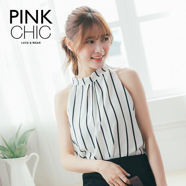 上衣 條紋削肩雪紡背心無袖上衣 - PINK CHIC - 138851