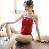 性感肚兜式情趣透明薄紗火辣誘惑睡衣女誘惑三點式內衣透視套裝騷