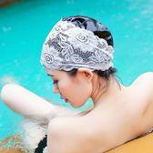 時尚泳帽女長發成人防水女士加大不勒頭時尚溫泉大碼PU蕾絲游泳帽 qf2188【黑色妹妹】