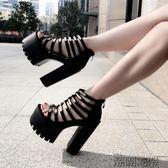 夏季新款超高跟女鞋粗跟防水臺鏤空涼鞋T型細帶走秀女鞋14cm粗跟【潮咖地帶】