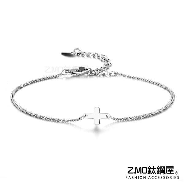 316L白鋼 銀色女性腳鍊 簡約十字架造型 簡約高雅 高跟鞋女孩必備 單件價【AJS152】Z.MO鈦鋼屋
