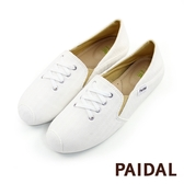 Paidal假綁帶踩腳鞋2WAY懶人鞋不彎腰鞋-小白鞋