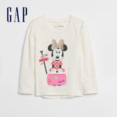 Gap女幼童 Gap x Disney 迪士尼系列創意圖案印花長袖T恤 618837-象牙白