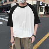 短袖男夏季韓版潮流男士t恤帥氣圓領寬鬆體恤男打底衫半袖上衣服『摩登大道』