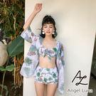 比基尼泳裝-日本品牌AngelLuna 日本直送 清新綠葉三件式溫泉沙灘泳衣