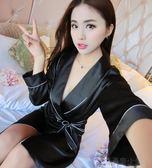 春秋長袖女士長款高檔絲質睡袍長袖性感真絲浴袍女夏季絲綢睡衣 晴川生活館