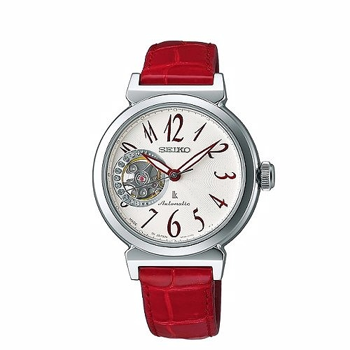 SEIKO LUKIA Mechanical 時尚耀眼機械女腕錶/白x紅/34mm/4R38-00N0R