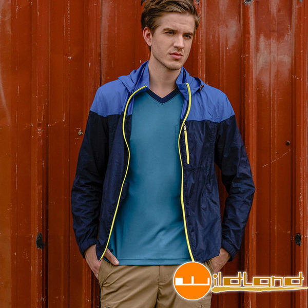 Wildland 荒野 0A31992-72深藍色 男RE彈性抗UV透氣輕薄外套