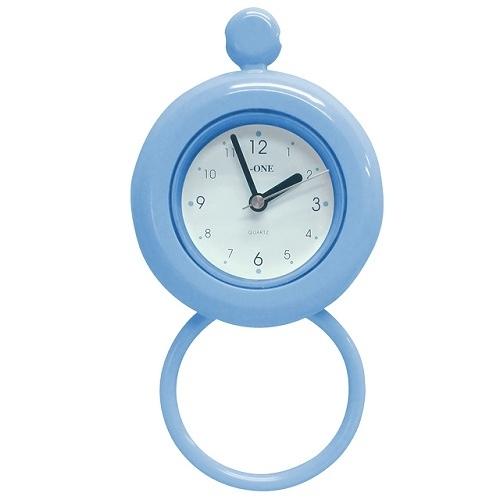 A08661  《Family》小型防水浴室掛鐘(可掛毛巾)-藍色