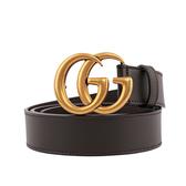 【GUCCI】雙G霧金logo牛皮3CM寬皮帶85/90cm(咖啡色) 414516 AP00T 2145