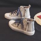 帆布鞋 2021春季高幫帆布鞋女鞋2021年新款春秋爆款百搭ulzzang板鞋布鞋 嬡孕哺