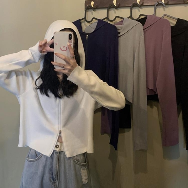 秋季2020年新款韓版連帽短款長袖針織上衣女外搭白色薄款開衫外套 【雙十二下殺】
