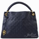 茱麗葉精品 二手精品 【9成新】Louis Vuitton LV M40790 MM 經典花紋皮革肩背包.深藍