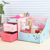創意桌面書本鉛筆收納儲物盒帶抽屜式木質化妝品辦公收納架 CY潮流站