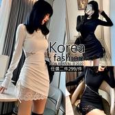 克妹Ke-Mei【AT63440】Ke-Mei獨家自訂併接蕾絲收腰洋裝