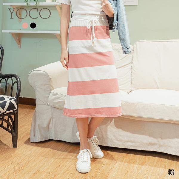 東京著衣【YOCO】MIT經典不過時抽繩腰鬆緊寬橫條長裙(200374)